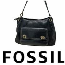 Fossil Black Pebbled Leather Chunky Turnlock Shoulder Bag Purse Tote Handbag Photo