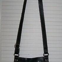 Fossil Black Pebbled Leather Crossbody Organizer Handbag Purse Buckles Belts Photo