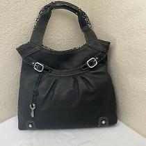 Fossil Black Pebbled Leather Hobo Shoulder Tote Handbag Photo