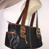 Fossil Black Pebbled Leather Shoulder Bag Photo