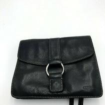 Fossil Black Satchel Leather Snap Ring Shoulder Hand Bag Photo