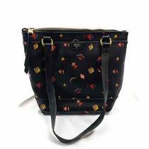 Fossil Black Star & Geometric Handbag Purse Black Multicolor Shoulder Bag Small Photo