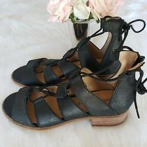 Fossil Black Strappy Tie Ankle Leather Upper Sandal Size 8 M Euc Photo