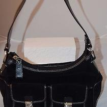 Fossil Black Suede / Leather Bag - Purse  Vg Cond Photo