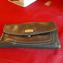 Fossil Black Wallet Leather Black Vintage Photo