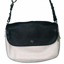 Fossil Black White Leather Handbag Crossbody Purse Photo
