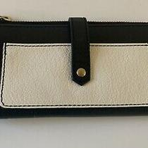 Fossil Black & White Pebbled Leather Keely Tab Clutch Bi-Fold Wallet Photo