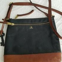Fossil Black With Brown Leather Classic Crossbody Traveler Shoulder Bag Purse  Photo