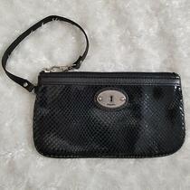 Fossil Black Wristlet Wallet Snake Skin 8 X 4 Fit All Phones Photo
