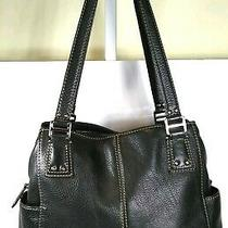 Fossil Blackburn Black Pebbled Leather Large 3 Compartment Shoulder Bag / Purse  Photo