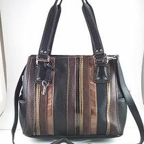 Fossil Blackburn Leather Satchel With Patchwork Leather Stripes   Photo