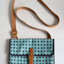 Fossil Blue Diamond Pattern Small Crossbody Hipster Shoulder Bag Purse Photo