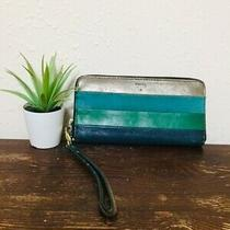 Fossil Blue Green Gold Wallet Wristlet Leather Suede Casual Photo