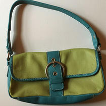 Fossil Blue Green Leather Small 10x5 Inch Magnetic Snap Front Purse Photo