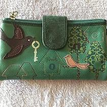 Fossil Blue Green Leather Wallet With Signature Keys  Photo