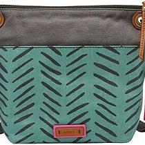 Fossil Blue Herringbone Grey Canvas Messenger Crossbody Keely Tote Pink Interior Photo
