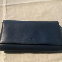 Fossil Blue Leather Flap Clutch Wallet Photo