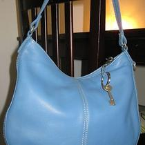 Fossil Blue Leather Handbag  Purse - in Very Good Condition Photo