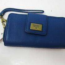 Fossil Blue Leather Quinn Zippered Clutch Wristlet Wallet New With Tags Photo
