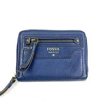 Fossil Blue Leather Small Zip Wallet Photo