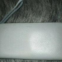 Fossil Blue Leather Zip Around Organizer Rfid Clutch Wristlet Wallet  Photo