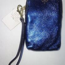 Fossil Blue Metallic Leather Cell Phone Case Wristlet Nwt Photo