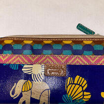 Fossil Blue Multi Color Floral Quality Zip Around Wallet Very Newly Worn -  Photo