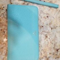 Fossil Blue Pebbled Leather Sydney Large Wallet Wristlet Zip Around. Photo