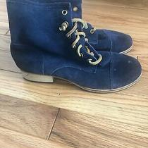 Fossil Blue Suede Boots Leather Laces Tie Up Wood Heel Sz 6 Photo