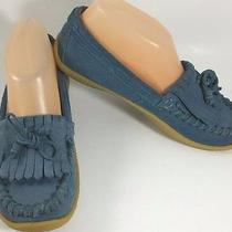 Fossil Blue Suede Kiltie Tassel Loafer Moccasins Flats Womens 6 Shoes Photo