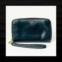 Fossil Blue Sydney Zip Around Accordion Leather Wristlet Wallet Clutch Sl4266 Photo