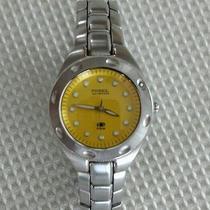 Fossil Blue Watch Am 3318  Women's 100 Meters Yellow Face Wristwatch--- Silver Photo