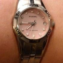 Fossil Blue Water Resistant 100 Meters Am-4123 Womens Stainless Steel Watch Pink Photo