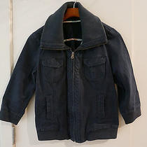Fossil Blue Wide Collar Zip Up Bomber Jacket - Size M Photo