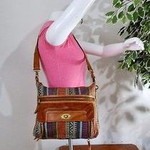 Fossil Boho Hippie Multi Color Canvas Leather Crossbody Shoulder Bag Tote Purse  Photo