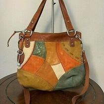 Fossil Boho Zb4592 Brown Patchwork Leather Cross Body Tote Satchel Purse Bag  Photo
