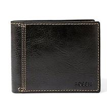Fossil Bradley Plaid Lined Black Bifold Genuine Leather Vintage Wallet Gift New Photo