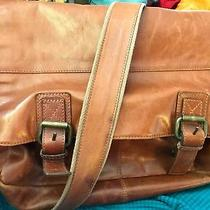 Fossil Brand Brown Leather Cross Body Messenger Work or Laptop Bag Photo