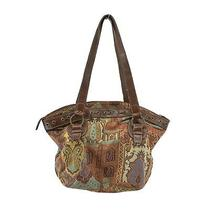 Fossil Brand Brown Tapestry & Leather Shoulder Bag Handbag Purse Medium Tote Photo