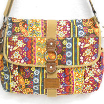 Fossil Brand Cross Body Messenger Book Bag Large Indigo Gold Fuchsia Multi  Nwt Photo
