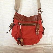 Fossil Brand Cross Body Purse W/ Leather Accents - Orange/canvas Small 11x11 Bag Photo