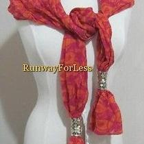 Fossil Brand Fisher Fish Print Fuchsia Red Orange Sequin Wool Scarf New Nwt Photo