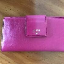 Fossil Brand Fuchsia Pink Sydney Tab Clutch Leather Wallet - Nwt Photo