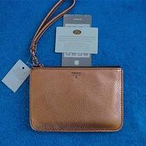 Fossil Brand Iphone Rose Gold Metallic Leather Tech Case Wristlet Purse New Photo