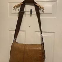 Fossil Brand Leather Front Flap Vintage Crossbody  Laptop  Brown Messenger Bag Photo