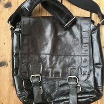 Fossil Brand Messenger Briefcase - Soft Black Leather - Flap Front - Adj. Strap Photo