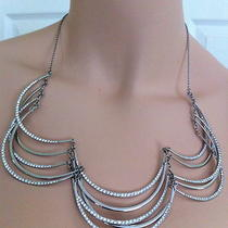 Fossil Brand Modern Heirloom Tiered Lattice Silver-Tone Steel  Necklace 168tax Photo