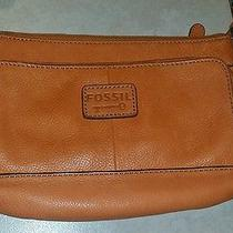 Fossil Brand Orange Soft Pebbled Leather Small Crossbody Bag  Photo