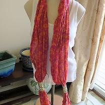 Fossil Brand Pisces Sea Fish Print Pink Orange Sequin Wool/cotton Scarf Nwt Photo