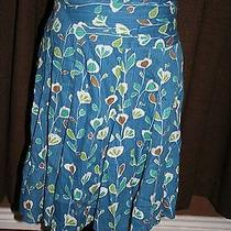 Fossil Brand Size 6 Blue Floral Skirt100% Cotton Photo